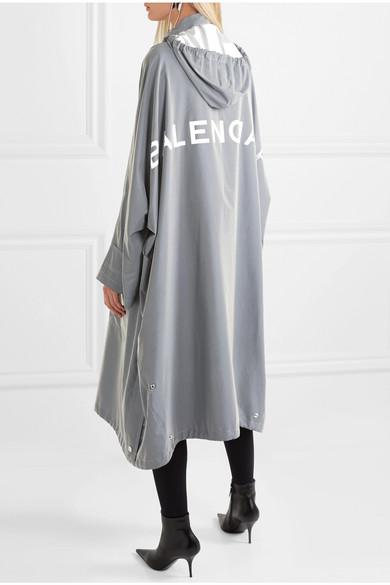 Balenciaga Opera Oversized-Regenmantel aus reflektierendem Shell mit Print