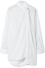 Oversized asymmetric striped georgette shirt