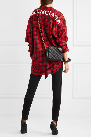 Balenciaga Swing bedrucktes Hemd aus Twill aus einer Baumwollmischung mit Tartan-Muster