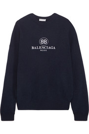 Balenciaga Embroidered stretch wool and cashmere-blend sweater