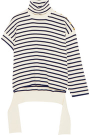 One-shoulder distressed striped wool-blend turtleneck sweater