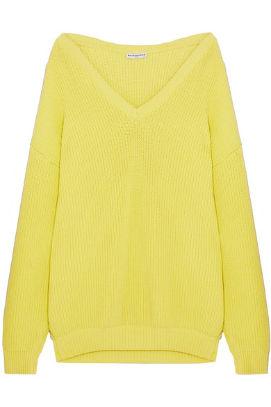 Balenciaga - Oversized Ribbed Cotton-blend Sweater - Yellow at NET-A-PORTER