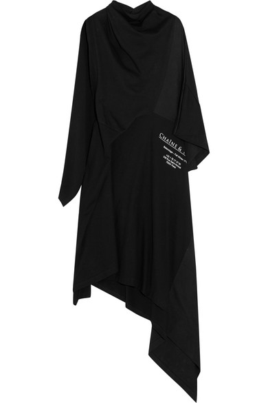 Balenciaga Projection asymmetrisches Kleid aus bedrucktem Baumwoll-Jersey