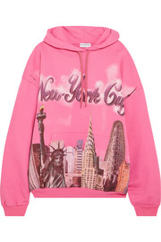 Balenciaga Oversized printed cotton-jersey hooded top
