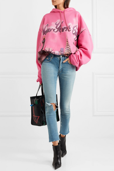 Balenciaga Oversized-Kapuzenoberteil aus bedrucktem Baumwoll-Jersey