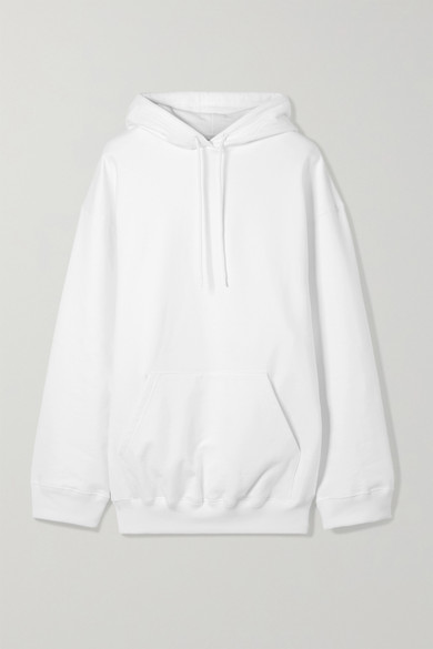 Balenciaga - Oversized Printed Cotton Jersey Hooded Top - White at NET-A-PORTER