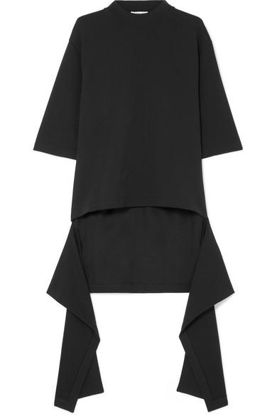 Balenciaga - Draped Cotton-jersey Top - Black at NET-A-PORTER