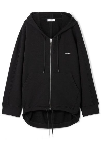 Ladies Black Cocoon Logo-Print Stretch-Cotton Hoody