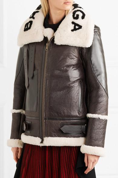 Balenciaga Le Bombardier Oversized-Jacke aus Shearling