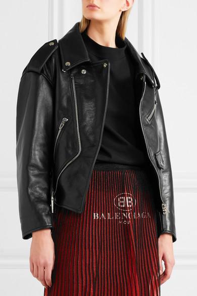 Balenciaga Swing Oversized-Bikerjacke aus Leder
