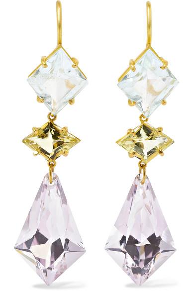 22-karat Gold, Quartz And Aquamarine Earrings - one size Marie-H