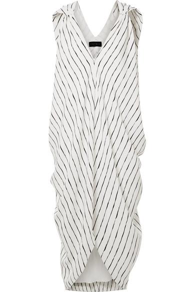HATCH Amira Draped Striped Crepe De Chine Dress in Ivory