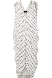 Amira draped striped crepe de chine dress