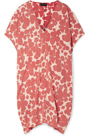 Slouch floral-print crepe dress