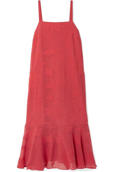 HATCH Paola Ruffled Burnout-Voile Midi Dress in Brick