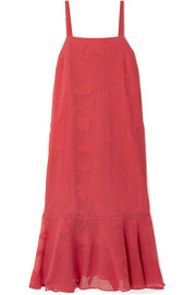 Paola ruffled burnout-voile midi dress