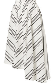 Turkanna asymmetric striped linen and silk-blend midi skirt