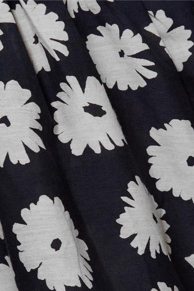 APIECE APART Bougainvillea Wickelkleid aus einer Baumwoll-Seidenmischung mit Blumenprint
