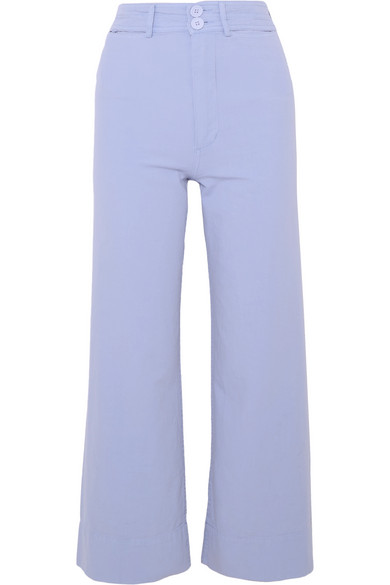 Apiece Apart Merida Shortened Trousers With Wide Leg In Cotton-canvas