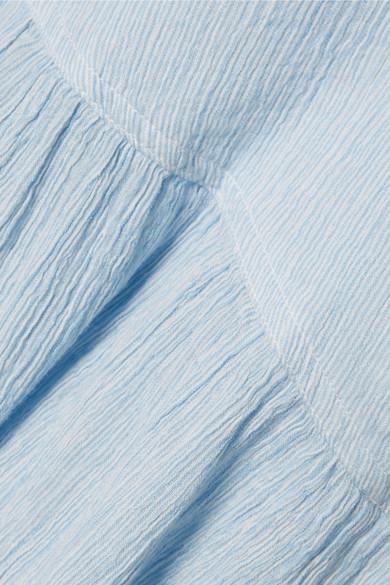 APIECE APART Bougainvillea gestreiftes Wickelkleid aus plissierter Baumwoll-Gaze