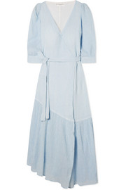 Bougainvillea striped plissé cotton-gauze wrap dress