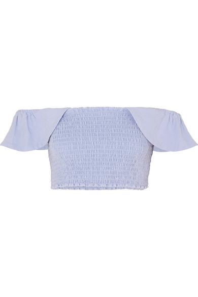 APIECE APART Lamu schulterfreies Oberteil aus Baumwoll-Canvas mit abgesteppten Raffungen