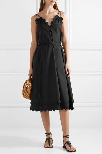 APIECE APART Mirage Kleid aus Baumwollpopeline mit Gürtel und Wellenkanten