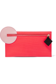 Color-block smooth and textured-leather pouch