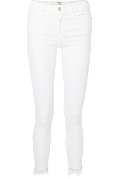 FRAME Le Skinny de Jeanne Raw Stagger halbhohe Jeans