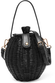 Tautou mini leather-trimmed wicker shoulder bag
