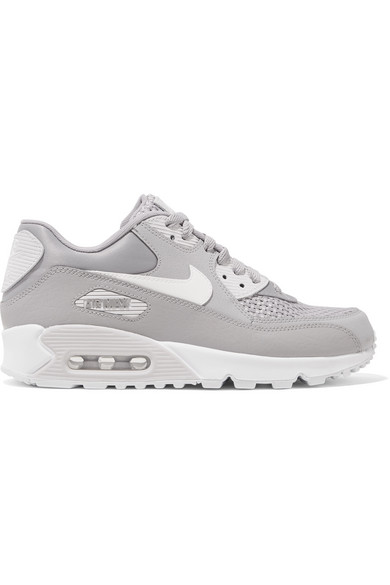 AIR MAX 90 SE STRETCH-KNIT, SUEDE, LEATHER AND MESH SNEAKERS