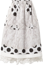 Ruffle-trimmed printed cotton-canvas midi skirt
