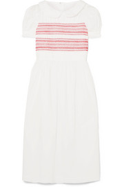 Embroidered shirred cotton-poplin midi dress