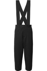 Cropped wool-twill overalls