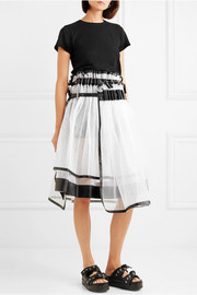 Layered faux leather-trimmed tulle skirt