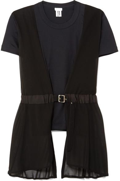 Noir Kei Ninomiya T-Shirt aus Baumwoll-Jersey mit Georgette-Besatz und Schnallendetail