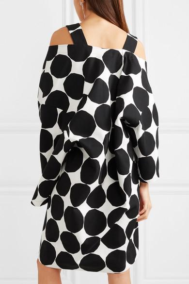 Junya Watanabe + Marimekko schulterfreies Oversized-Midikleid aus Baumwoll-Canvas mit Polka-Dots