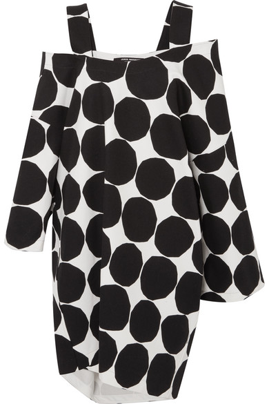 + Marimekko Oversized Cold Shoulder Polka Dot Cotton Canvas Midi Dress by Junya Watanabe