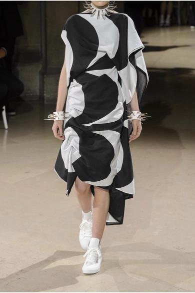 Junya Watanabe + Marimekko gerafftes Kleid aus einer bedruckten Baumwoll-Leinenmischung