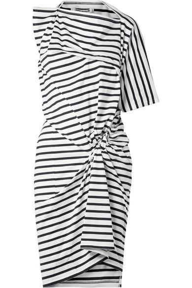 Junya Watanabe Asymmetrisches Kleid aus gestreifter Baumwolle mit Raffungen
