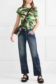 Twisted camouflage-print jersey top
