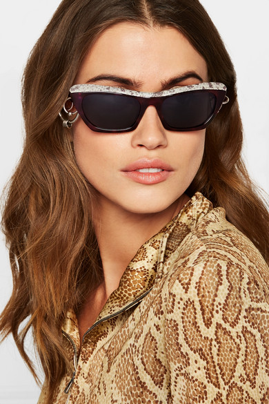 5ab0fc5ed6 Acne Studios. Dielle cat-eye python-effect leather and acetate sunglasses.   205. Zoom In