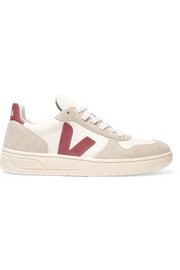 V-10 leather, mesh and suede sneakers