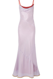 Beaded two-tone satin maxi dress
