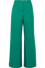 Tyrah cotton-twill wide-leg pants