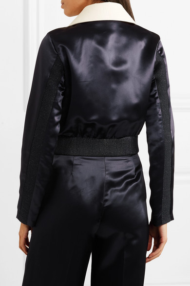 Rosaleen Cropped Canvas Trimmed Satin Bomber Jacket by Acne Studios