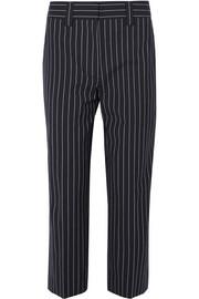 Cropped pinstriped wool and cotton-blend straight-leg pants
