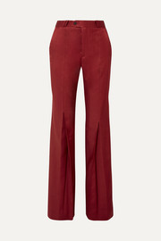 Tohny pleated satin-twill flared pants