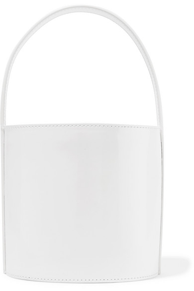 BISSETT PATENT LEATHER TOP-HANDLE BUCKET BAG - WHITE