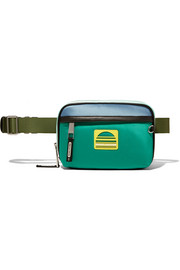Sport leather-trimmed color-block satin belt bag